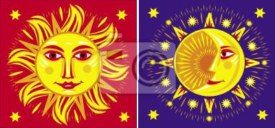 Sonne und Mond. Vektor-Illustration
