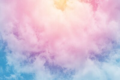 Fototapete Sonnen- und Wolkenhintergrund mit einem Pastell gefärbt