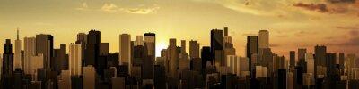 Fototapete Sonnenaufgang-Sonnenuntergang-Stadtpanorama / 3D bei Sonnenaufgang oder Sonnenuntergang render der modernen Stadt