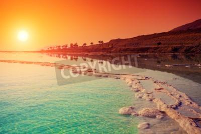 Fototapete Sonnenaufgang über dem Toten Meer.