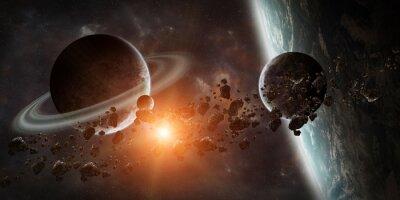 Fototapete Sonnenaufgang über entfernten Planeten-System im Raum 3D-Rendering-Element