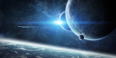 Fototapete Sonnenaufgang über Planeten Erde im Raum