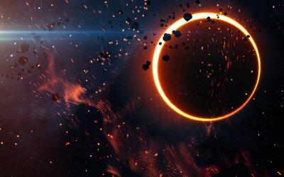 Fototapete Sonnenfinsternis über einem Nebelfleck. Elemente dieses Bildes von der NASA eingerichtet