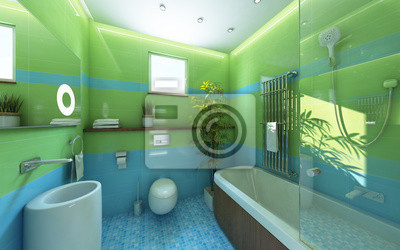 Sonnenlicht badezimmer grün shiny tile fototapete • fototapeten ...