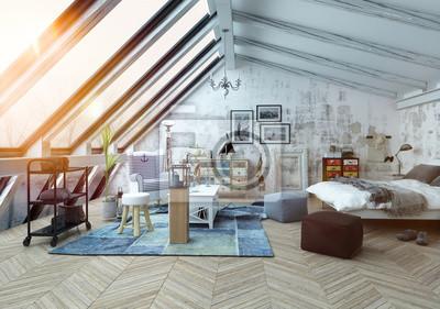 Fototapete Sonnenlicht Scheint In Moderne Hipster Loft Schlafzimmer