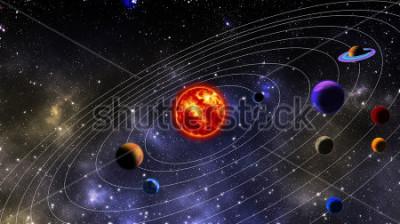 Fototapete Sonnensystem. Das Foto wird mit 3D-Rendering und Gaußscher Rauschverteilung in Bildverarbeitungssoftware und Codierung vorbereitet.