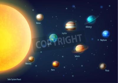 Fototapete Sonnensystem Hintergrund mit Sonne Planeten und Weltraum Cartoon Vektor-Illustration