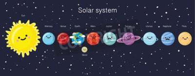 Fototapete Sonnensystem mit niedlichen lächelnden Planeten, Sonne und Mond. Abbildung