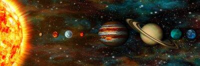 Fototapete Sonnensystem, Planeten in einer Reihe, ultrawide