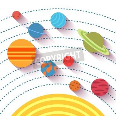 Fototapete Sonnensystem und Raumobjekte. Vector-Set in flachen Stil.
