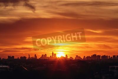 Fototapete Sonnenuntergang in der Stadt von Bangkok mit Gebäude Silhouette
