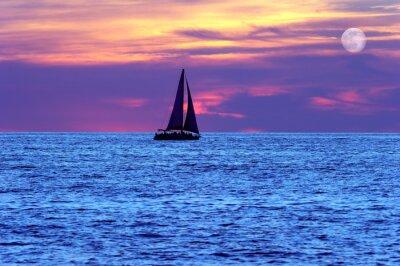 Fototapete Sonnenuntergang Segelboot Mond