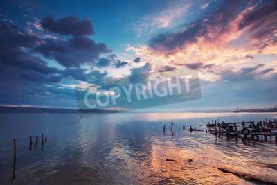 Fototapete Sonnenuntergang über dem See HDR Bild
