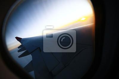 Sonnenuntergang Wolken Blick Aus Dem Flugzeug Fototapete