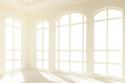 Fototapete Sonniger weißer Innenraum mit großen Fenstern
