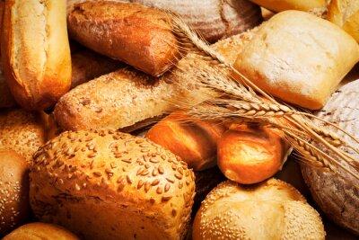 Fototapete Sortiment von gebackenem Brot mit Weizen