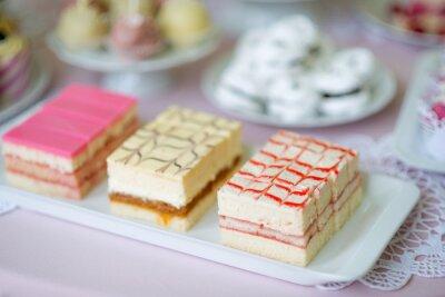 Sortiment Von Verschiedenen Rosa Mini Creme Kuchen Auf Platte