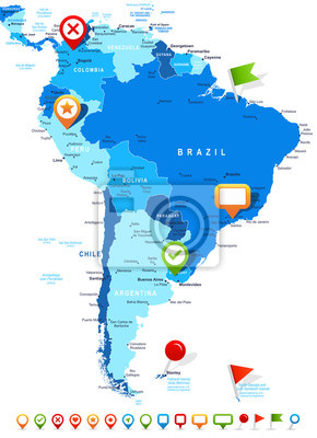 South america map - highly detailed vector illustration. image ...