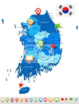 South korea - map and flag - illustration fototapete • fototapeten on