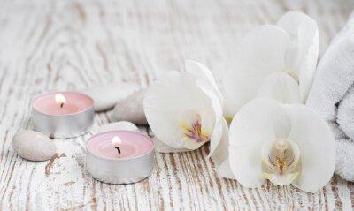 Fototapete Spa mit weißen Orchideen