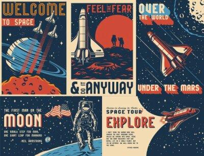 Fototapete Space exploration vintage colorful posters