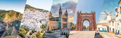 Fototapete Spain famous landmarks collage