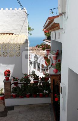Spanien Andalusien Mijas Strasse Mit Weissen Wanden Von Haus