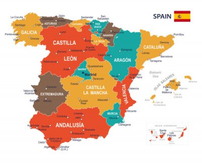 Spanische Karte.Fototapete Spanien Karte Abbildung