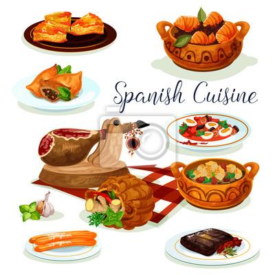 Spanische küche abendessen menü poster design fototapete ...