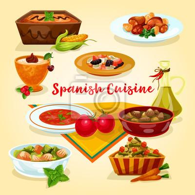 Spanische küche lecker abendessen gerichte cartoon-symbol fototapete ...