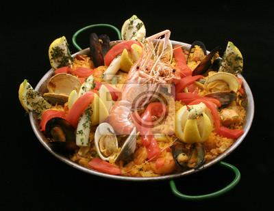 Spanische Paella gemischte Meeresfrüchte Reis