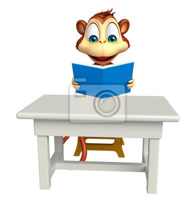 Affe Und Zeichentrickfilm Figur Tisch Mit Stuhl FototapeteSpaß Buch CsrBhtQdx