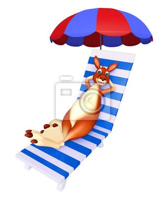 Strandkorb comic  Spaß känguru cartoon-figur mit strandkorb fototapete • fototapeten ...