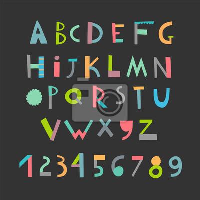 Spaß und nettes Papier schneiden Alphabet und Digits. Isoliert. Vektor