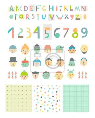 Spaß und nettes Papier schnitten Alphabet und Zahlen, Gesichter und Muster