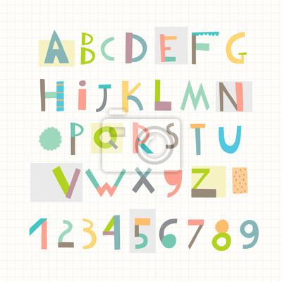 Spaß und nettes Papier schnitten Alphabet und Zahlen. Isoliert. Vektor
