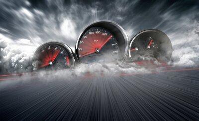 Fototapete Speedometer scoring high speed in a fast motion blur racetrack background. Speeding Car Background Photo Concept.