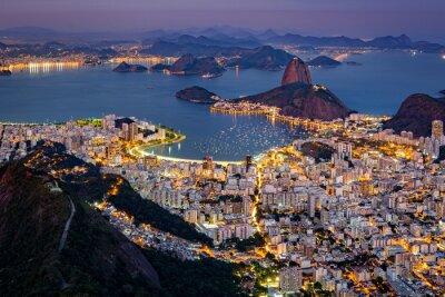 Fototapete Spektakuläre Luftaufnahme über Rio de Janeiro ab Corcovado angesehen. Der berühmte Zuckerhut-Sticks aus der Bucht von Guanabara