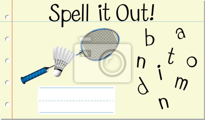 Spell English word badminton