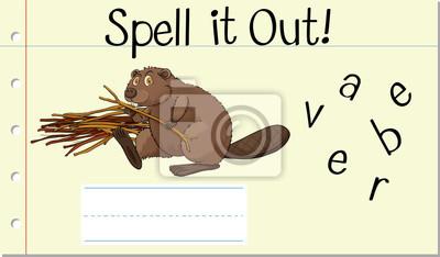 Spell english word beaver