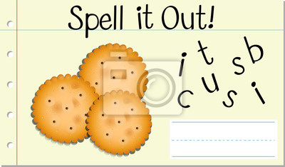 Spell English word biscuit