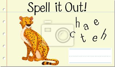 Spell English word cheetah