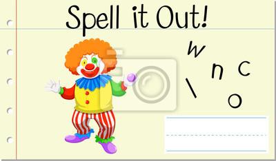 Spell English word clown