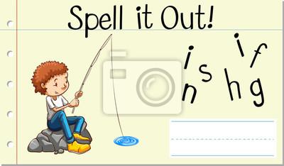 Spell English word fishing