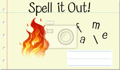 Spell English word flame