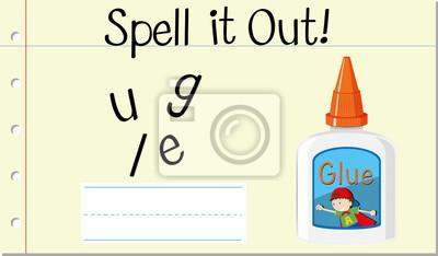 Spell English word glue