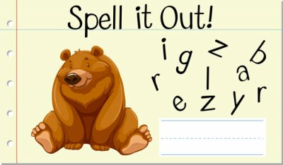 Spell English word grizzly bear