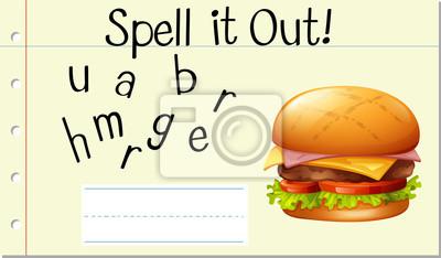 Spell English word hamburger