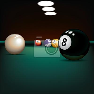 Spiel Illustration mit Billardkugeln auf grünem Tuch
