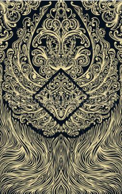 Fototapete Spielkarten oder Buch des Ornamentmusters abdecken. Aufwändige Flügel auf schwarzem Hintergrund. Weinleseblumenhand gezeichnete Abbildung. Viktorianisches Motiv. Retro Banner, Einladung, Hochzeitskart